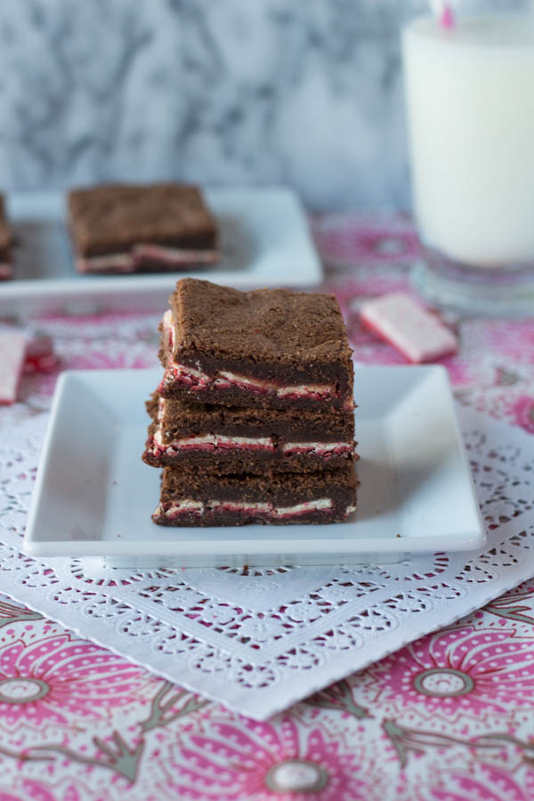 peppermint brownies close vertical