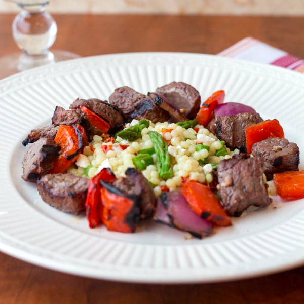 Steak and Pepper Skewers with Cous Cous civ