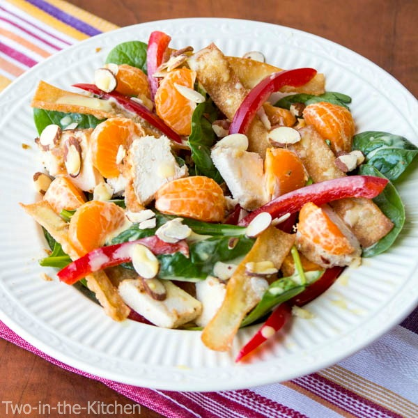 Asian Chicken Won Ton Salad  Two in the Kitchen c