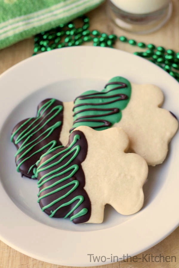Shamrock Shortbread Cut-Out Cookies Two in the Kitchen v