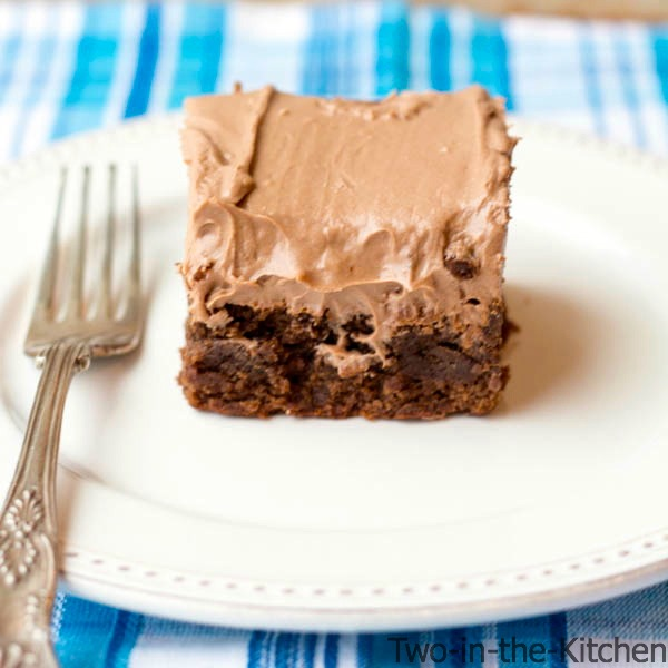 Chocolate Cream Cheese Frosted Thick and Chewy Brownies Two in the Kitchen c