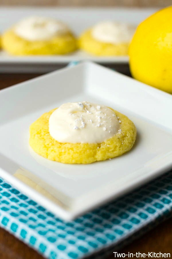 Lemon Cake Mix Thumbprint Cookies with Lemon Cream Cheese Frosting  Two in the Kitchen viv