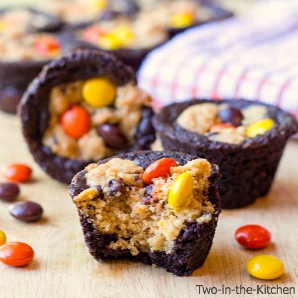 Peanut Butter Brookie Cups  Two in the Kitchen c