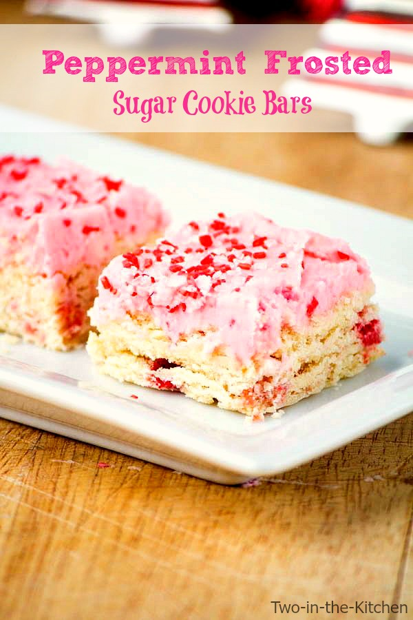 Peppermint Frosted Sugar Cookie Bars  Two in the Kitchen v