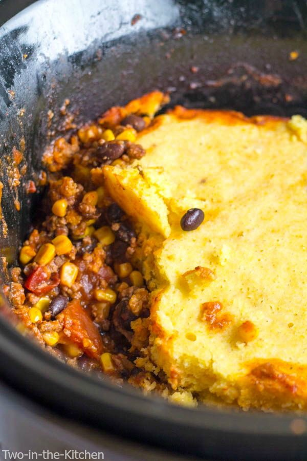 Crock Pot Beef Tamale Pie Two in the Kitchen v