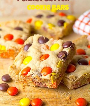 Reese's Pieces Peanut Butter Cookie Bars  Two in the Kitchen vi