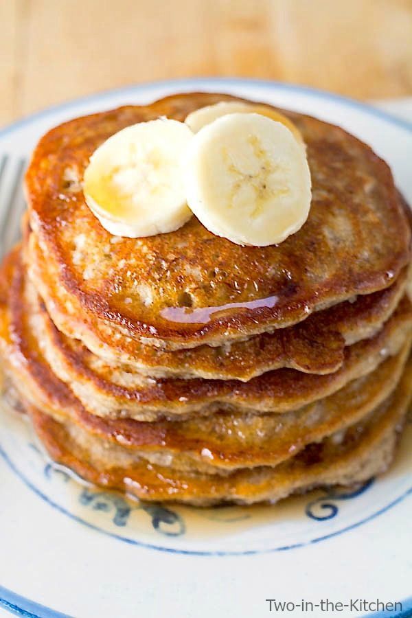 Banana Bread Pancakes Two in the Kitchen viv