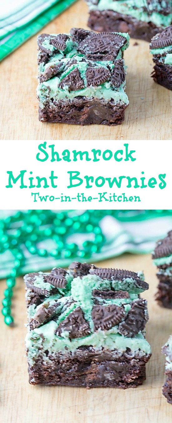 These Shamrock Mint Brownies are a cool treat for your St. Patrick's Day celebration